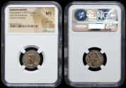 Ancient Coins - Constantine II campgate from Antioch…NGC certified mint state with silvering