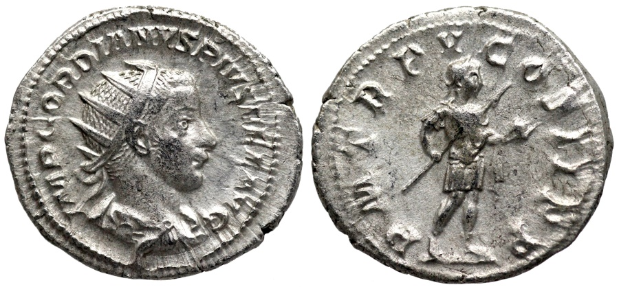 Ancient Coins - Gordian III P M TR P V COS II P P, Gordian in military dress from Rome