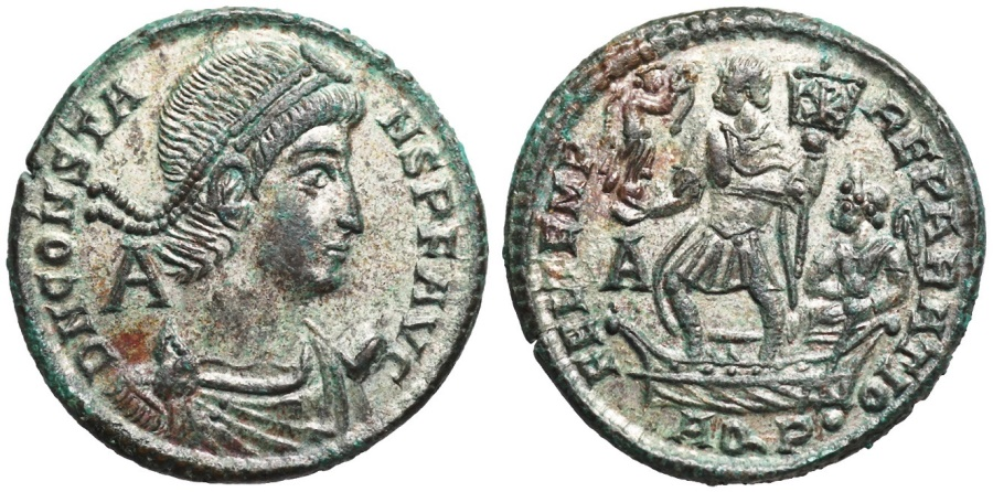 Ancient Coins - Constans FEL TEMP galley from Aquileia