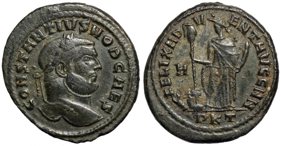 Ancient Coins - Constantius I FELIX ADVENT from Carthage… defeat of the Quinquegentiani