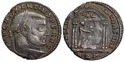 Ancient Coins - Maxentius CONSERV VRB SVAE from Aquileia...wolf and twins in pediment