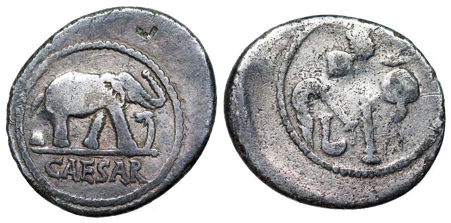 Ancient Coins - Julius Caesar [49-48 BC] elephant denarius from military traveling mint