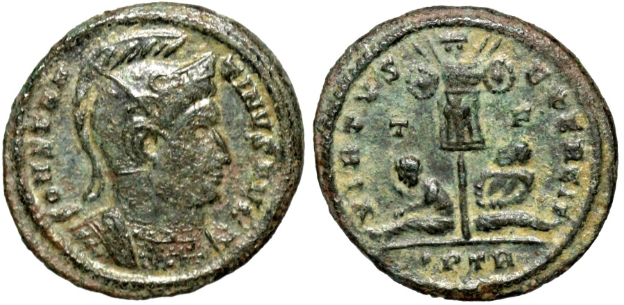 Ancient Coins - Constantine I VIRTVS EXERCIT trophy from Trier