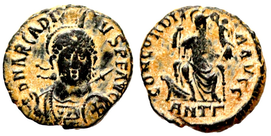 Ancient Coins - Arcadius CONCORDIA AVGGG from Antioch