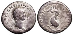 Ancient Coins - Domitian TR P COS VII DES VIII P P; dolphin from Rome