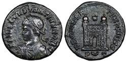 Ancient Coins - Constantius II campgate from Ticinum