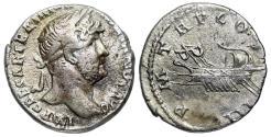 Ancient Coins - Hadrian P M TR P COS III Galley denarius from Rome