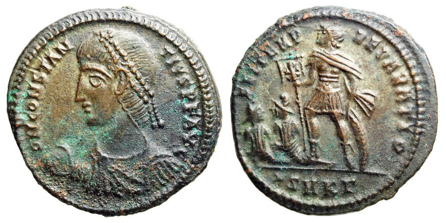 Ancient Coins - Constantius II FEL TEMP two captives from Cyzicus