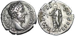 Ancient Coins - Marcus Aurelius IMP VII COS III; denarius from Rome with Marcus on reverse