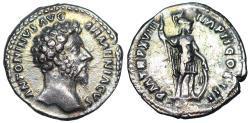 Ancient Coins - Marcus Aurelius P M TR P XVIII IMP II COS III; Mars from Rome