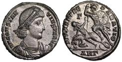 Ancient Coins - Constantius II FEL TEMP horseman from Antioch with spoke design on shield