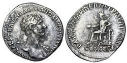Ancient Coins - Hadrian PARTH F DIVI NER NEP P M TP P COS; Concordia from Rome