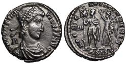 Ancient Coins - Constantius II HOC SIGNO VICTOR ERIS from Siscia… struck under Vetranio