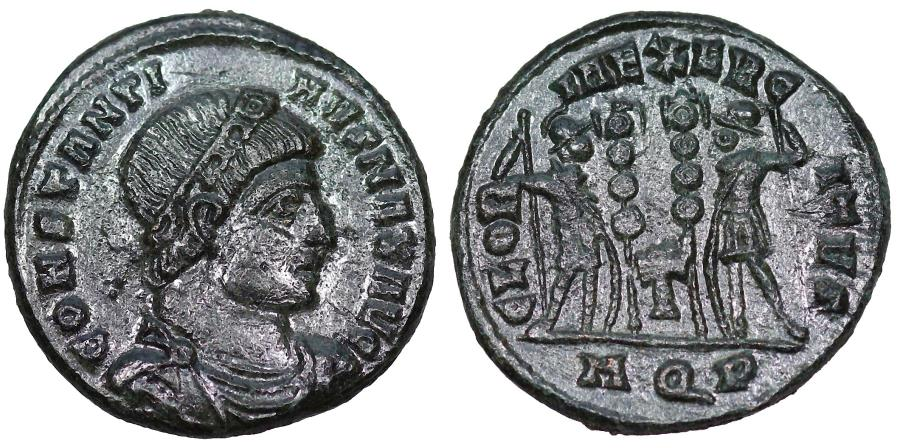 Ancient Coins - Constantine I GLORIA EXERCITVS from Aquileia with cross between standards