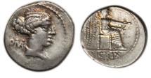 Ancient Coins - Roman Republic, M Cato, 89 BC, AR Denarius
