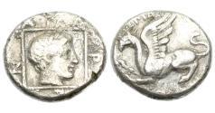 Ancient Coins - Thrace, Abdera, 415-395 BC, AR Tetrobol