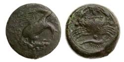 Ancient Coins - Sicily, Akragas, 5th cent BC, AE Tetras