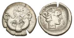 Ancient Coins - Macedon, Neapolis. 424-350 BC, AR Hemidrachm