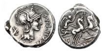 Ancient Coins - Roman Republic, M Cipius MF, 115/144 BC, AR Denarius