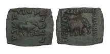 Ancient Coins - Indo-Scythian, Maues, 90-57 BC, AE Hemi-Obol