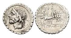Ancient Coins - Roman Republic, L Cornelius Scipio Asiagenus, 106 BC, AR Denarius serratus