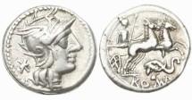 Ancient Coins - Roman Republic, L Caecilius Metellus Diadematus, 128 BC, AR Denarius