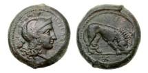 Ancient Coins - Sicily, Morgantina, 340-330 BC, AE Hemidrachm