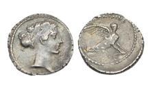 Ancient Coins - Roman Republic, T Carisius 46 BC, AR Denarius