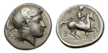 Ancient Coins - Thessaly, Pharsalos, 424-405 BC, AR Drachm