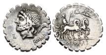 Ancient Coins - Roman Republic, L Memmius Galeria, 106 BC, AR Denarius