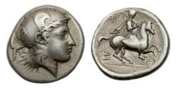 Ancient Coins - Thessaly, Pharsalos, 424-405 BC, AR Drachm