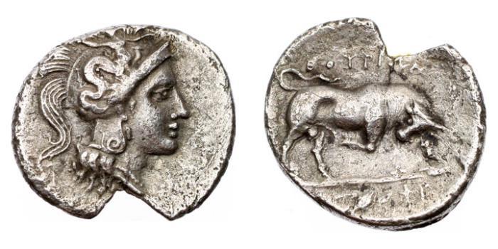 Ancient Coins - Lucania, Thurium,433-400 BC, AR Diobol