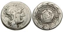 Ancient Coins - Roman Republic, M Caecilius Metellus,127 BC, AR Denarius