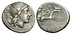 Ancient Coins - Roman Republic, L Rutilius Flaccus, 77 BC, AR Denarius
