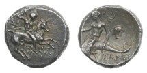 Ancient Coins - Calabria, Tarentum, 272-235 BC, AR Didrachm (Nomos)