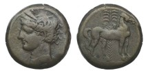 Ancient Coins - Zeugitania, Carthage, 264-241 BC, Billon Tridrachm