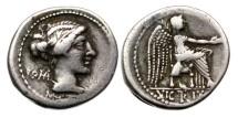 Ancient Coins - Roman Republic, M Porcius Cato, AR Denarius, 89 BC