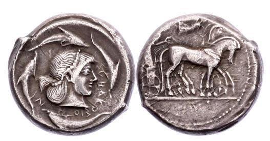Ancient Coins - Sicily, Syracuse, 485-478 BC, AR Tetradrachm
