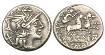 Ancient Coins - Roman Republic, Pinarius Natta, 155 BC, AR Denarius