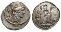 Ancient Coins - Roman Republic, P Clodius Mf Turrinus, 42 BC, AR Denarius