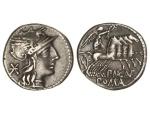 Ancient Coins - Roman Republic, P Maenius Antiacus Mf,132 BC, AR Denarius