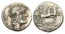 Ancient Coins - Roman Republic, M Opimius, 131BC, AR Denarius
