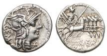 Ancient Coins - Roman Republic, C Aburius Geminus, 134 BC, AR Denarius