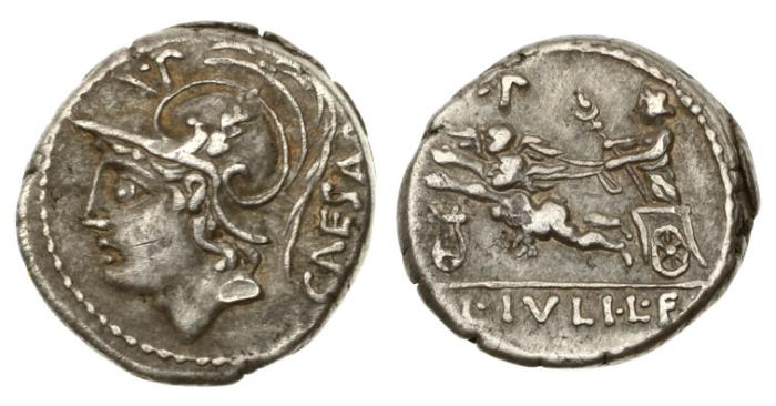 Ancient Coins - Roman Republic, LF Julius Caesar, 103 BC AR Denarius