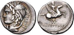 Ancient Coins - Roman Republic, L Cossutius Sabula,  Ca. 72 BC, AR Denarius