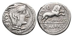 Ancient Coins - Roman Republic, L Thorius Balbus, 105 BC, AR Denarius