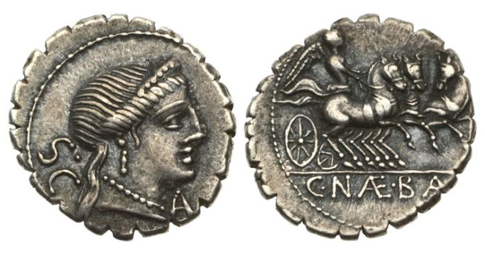 Ancient Coins - Roman Republic, C Naevius Balbus, 79 BC, AR Serrate Denarius