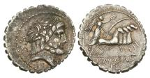Ancient Coins - Roman Republic, Q Antonius Balbus  83-82 BC AR Denarius Serratus