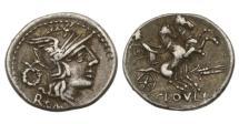 Ancient Coins - Roman Republic, T Cloelius, 128 BC, AR Denarius