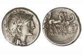 Ancient Coins - Roman Republic, A Claudius Pulcher, T Mancius, Q Urbinius, 111 BC AR Denarius